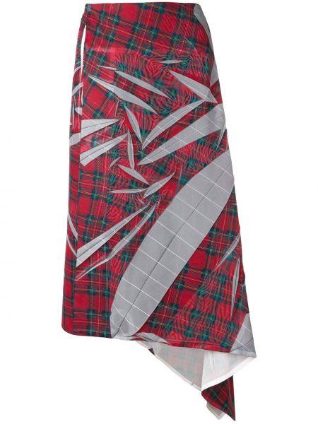 Юбка миди с завышенной талией шотландка Yohji Yamamoto Pre-owned