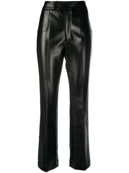 Кожаные черные расклешенные брюки на молнии Philosophy Di Lorenzo Serafini