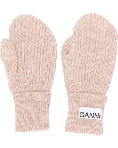 Beżowy wełniany rękawiczki z łatami Ganni