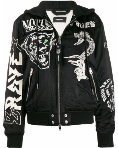 Куртка с капюшоном черная с вышивкой Diesel