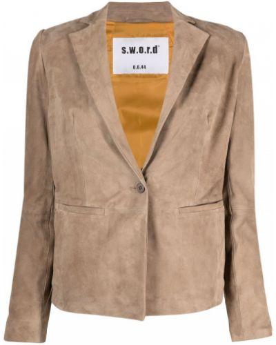 Коричневый приталенный кожаный удлиненный пиджак S.w.o.r.d 6.6.44