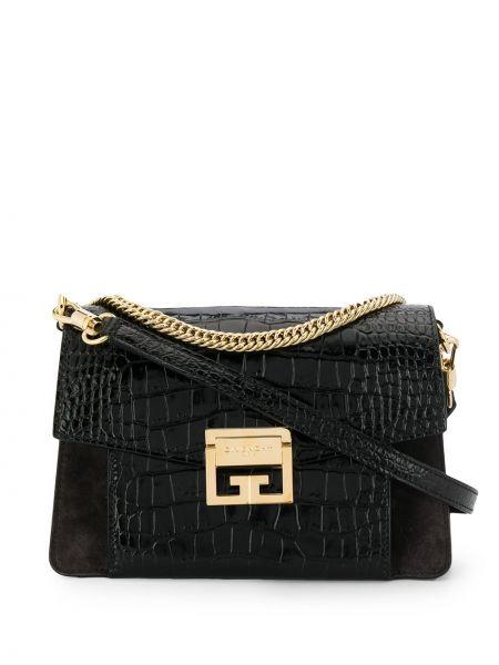 Золотистая черная кожаная сумка металлическая Givenchy