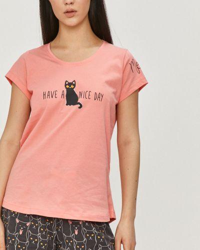 Różowa piżama bawełniana krótki rękaw Answear Lab