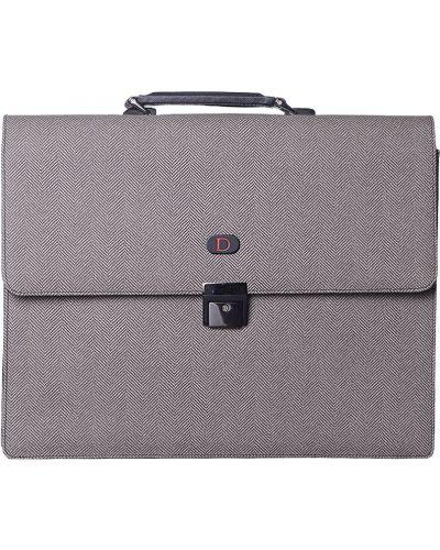 Кожаный портфель - серый Tigamaro