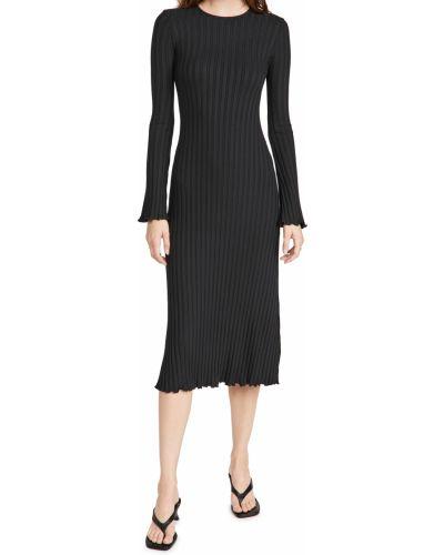 Sukienka długa prążkowana - czarna Simon Miller