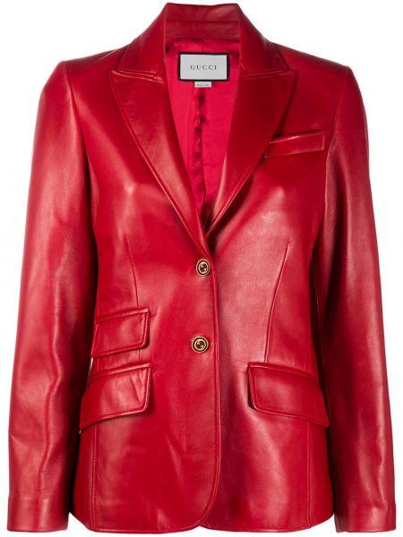 Однобортный кожаный красный пиджак Gucci
