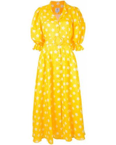 Желтое расклешенное платье мини на пуговицах Gül Hürgel