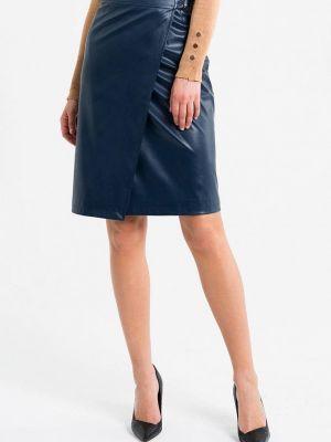 Кожаная юбка синяя Self Made