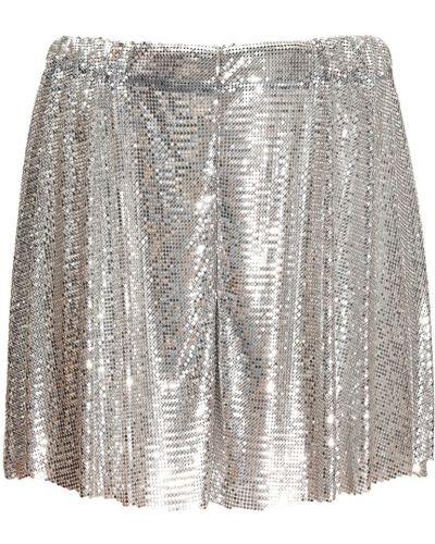 Серебряные шорты на резинке Paco Rabanne