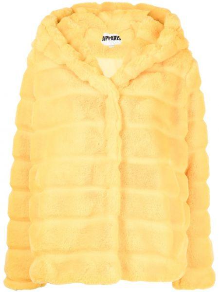 Żółty długi płaszcz z kapturem Apparis