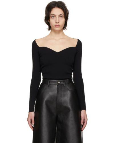 Czarny długi sweter z nylonu z długimi rękawami Balenciaga
