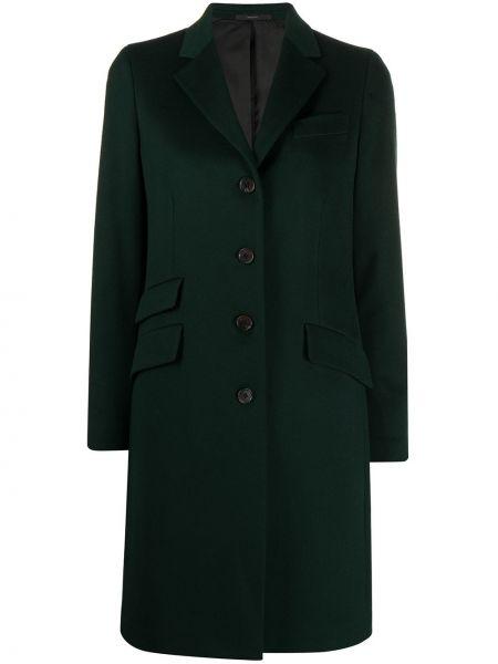С рукавами зеленое кашемировое пальто Paul Smith