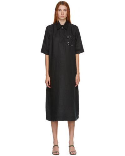 Льняное с рукавами черное платье-рубашка Ganni