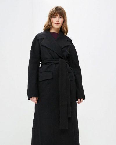 Черное пальто с капюшоном Pepen