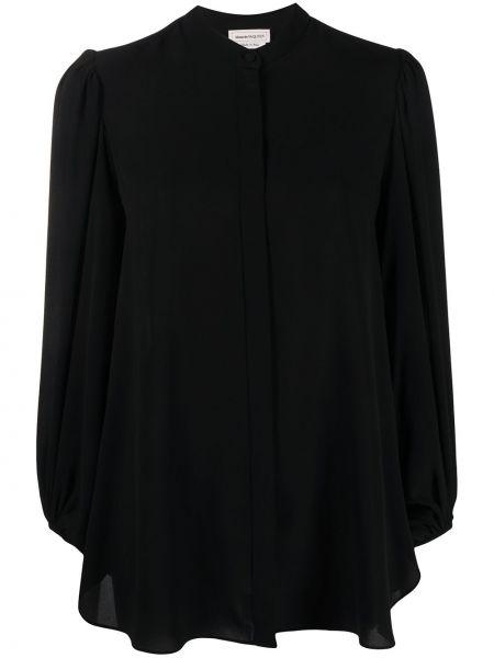 Шелковая черная блузка с воротником Alexander Mcqueen