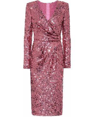 Платье с пайетками розовое Dolce & Gabbana