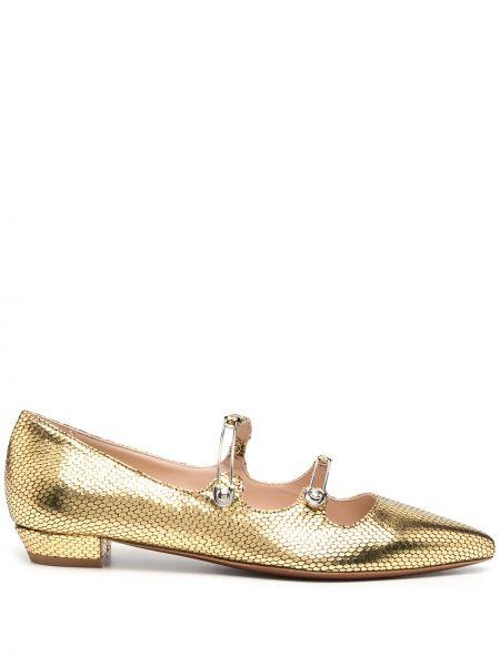 Золотистые кожаные желтые балетки на каблуке Alexa Chung
