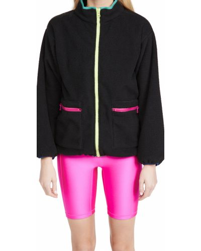 Флисовая черная длинная куртка на резинке Terez