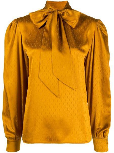 Шелковая блузка с воротником с бантом Saint Laurent