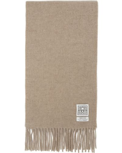 Шерстяной белый шарф прямоугольный Toteme
