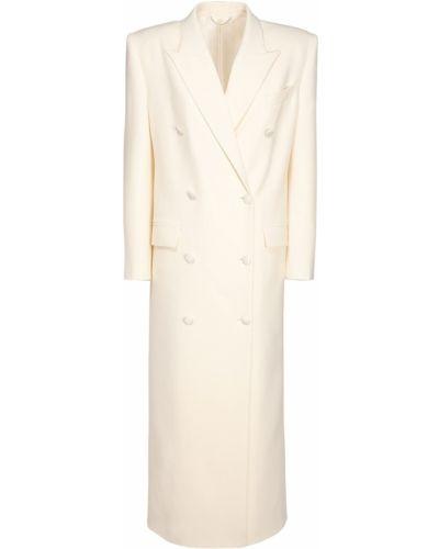 Шерстяное бежевое длинное пальто с карманами Magda Butrym