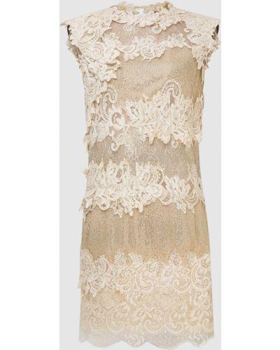 Бежевое кружевное платье мини Ermanno Scervino