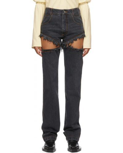 Кожаные черные джинсы стрейч с заплатками Telfar