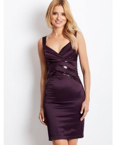 Fioletowa sukienka wieczorowa bez rękawów bawełniana Fashionhunters