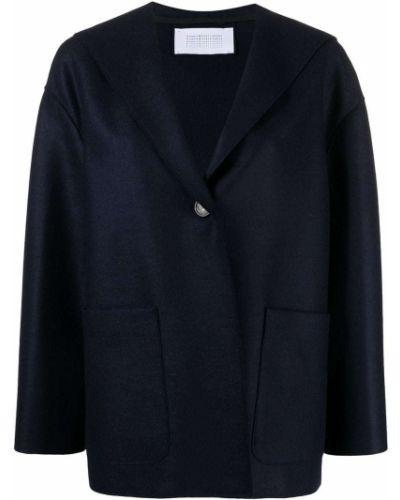 Шерстяная синяя куртка с капюшоном Harris Wharf London