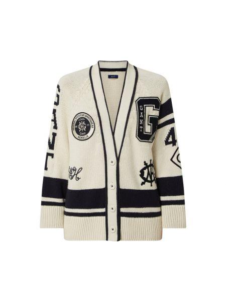 Biały sweter z dekoltem w serek Gant