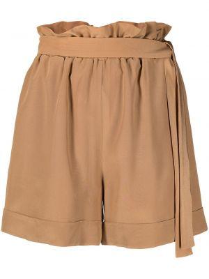 Шелковые с завышенной талией шорты с поясом Federica Tosi
