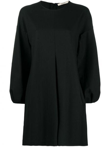 Шерстяное черное платье на молнии трапеция Odeeh