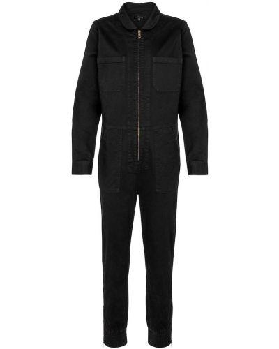 Брендовый хлопковый черный джинсовый комбинезон J Brand
