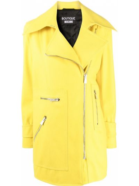 Шерстяной желтый длинный плащ на молнии Boutique Moschino