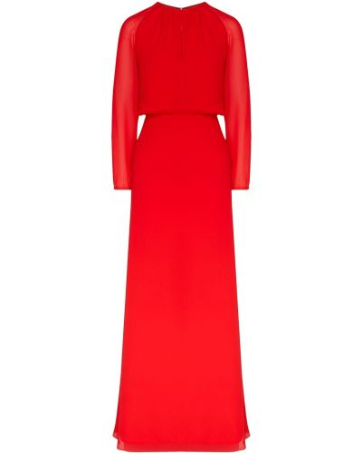 Приталенное красное платье макси с длинными рукавами Laroom