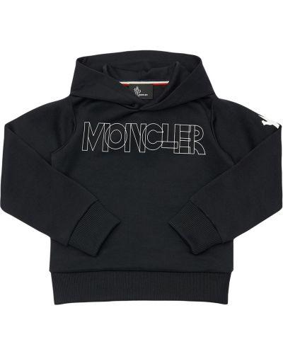Z rękawami czarny bluza z kapturem z łatami Moncler Grenoble