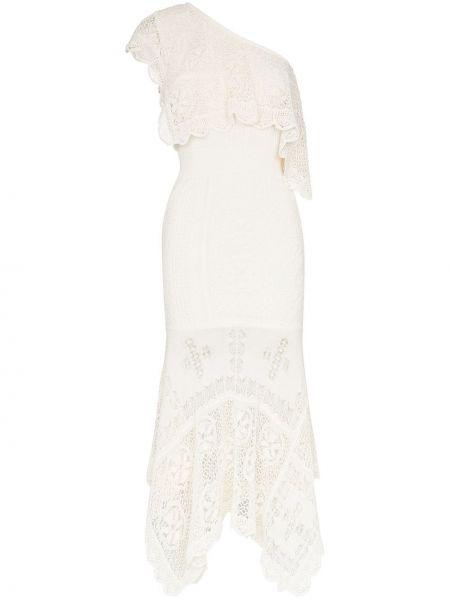 Ажурное белое платье миди на одно плечо Alexander Mcqueen
