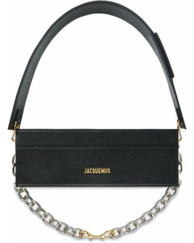Черная кожаная сумка Jacquemus