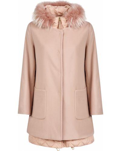 Розовое шерстяное пальто с капюшоном Gallotti