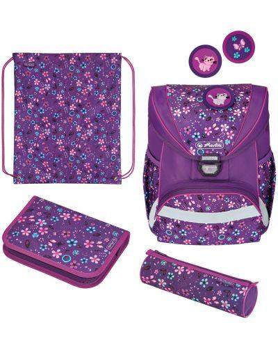 Фиолетовый школьный ранец из плотной ткани Herlitz