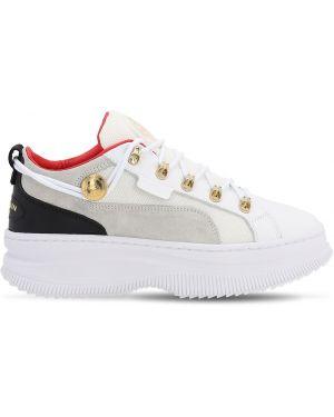 Białe sneakersy skorzane sznurowane Puma X Balmain