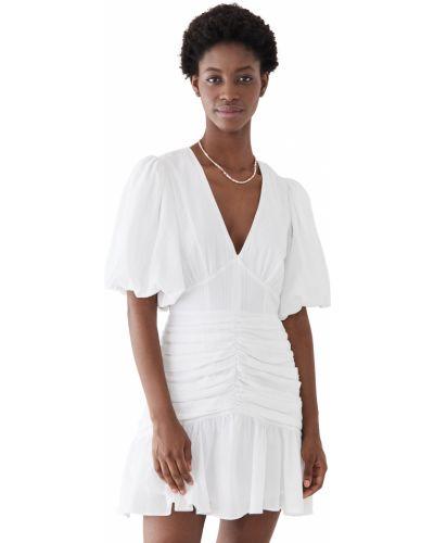 Белое платье мини с декольте с оборками Minkpink