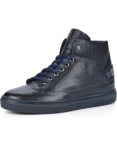 Синие кожаные высокие кеды на шнуровке Respect