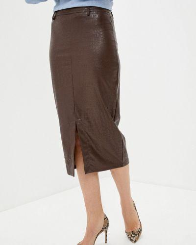 Кожаная юбка - коричневая Please