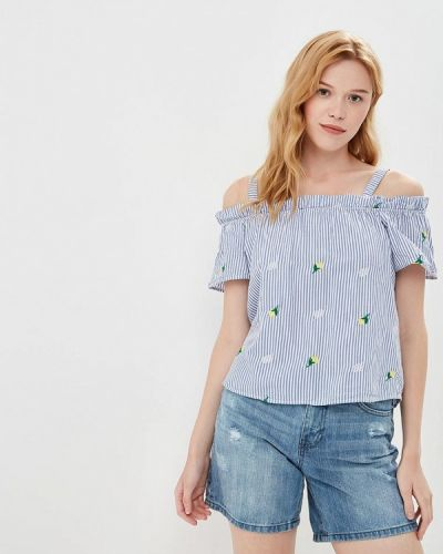 Синяя блузка с рюшами Jennyfer