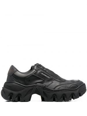Czarne sneakersy skorzane koronkowe Rombaut
