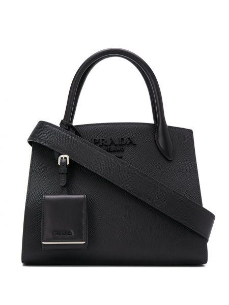 Черная сумка через плечо на молнии металлическая матовая Prada