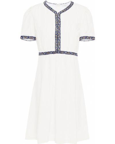Расклешенное белое платье мини с подкладкой Sandro