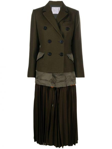 Шерстяное пальто - зеленое Sacai