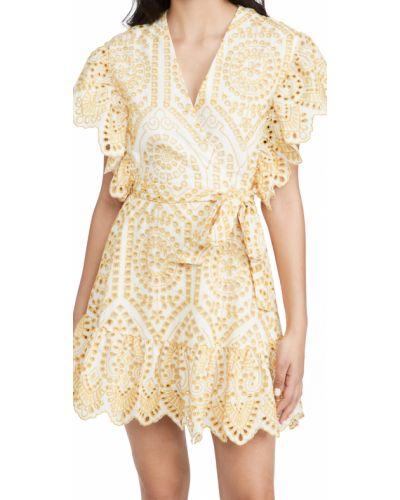 Хлопковое платье мини с поясом с декольте Minkpink